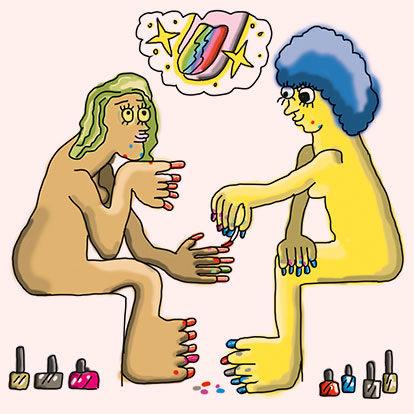 (gegenseitig)  die Fingernägel lackieren